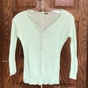 Free People Mint Green  3/4 sleeve Tee Size Small